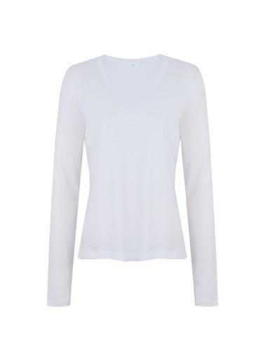 Deux Beautés Claire V-Yaka Uzun Kollu T-Shirt  Beyaz